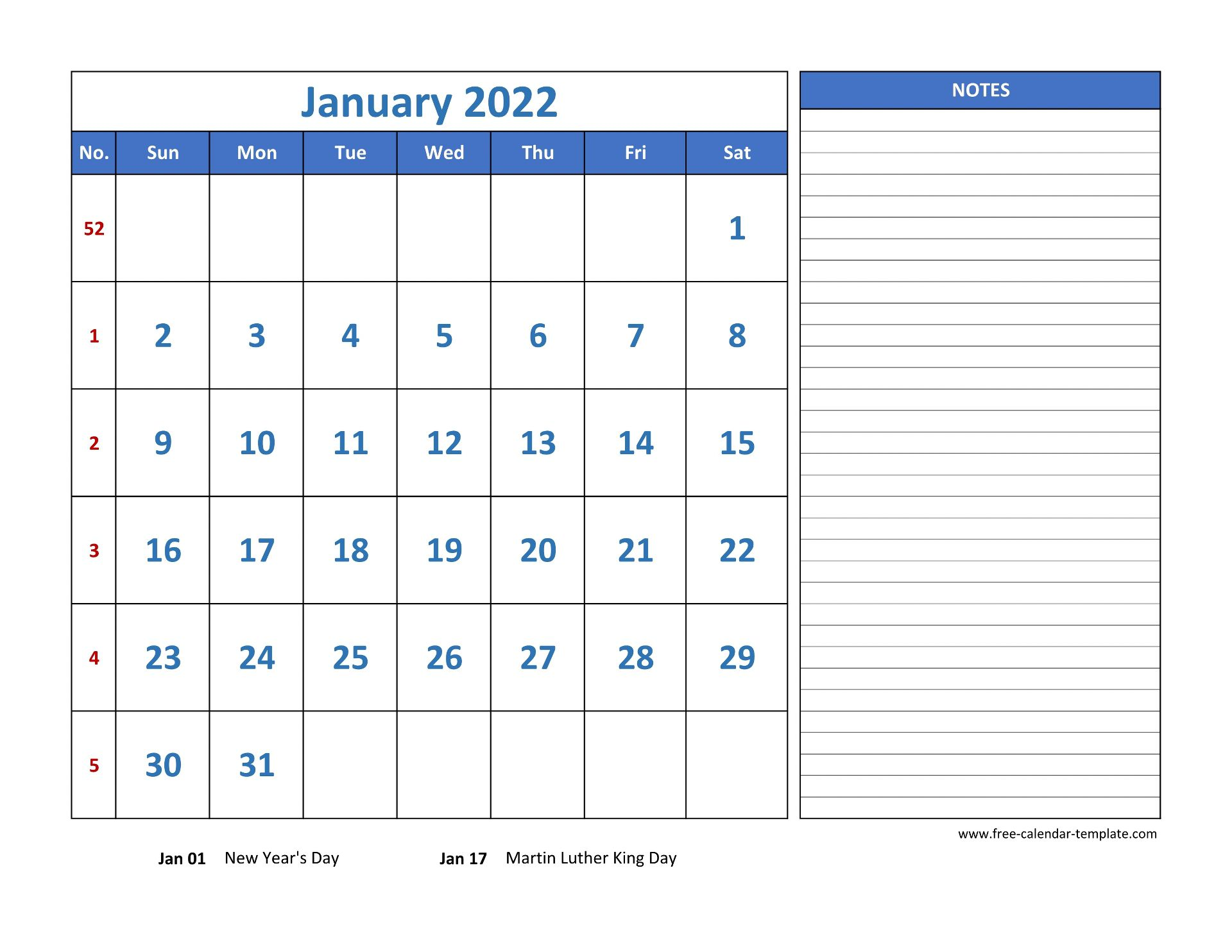 Monthly Calendar 2022 grid lines for holidays and notes ...