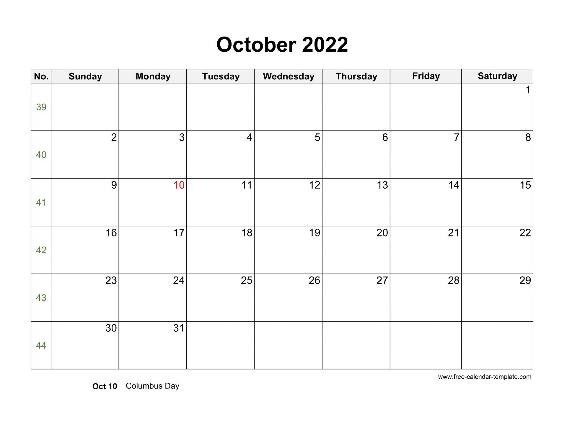 Free 2022 Calendar Blank October Template (horizontal ...