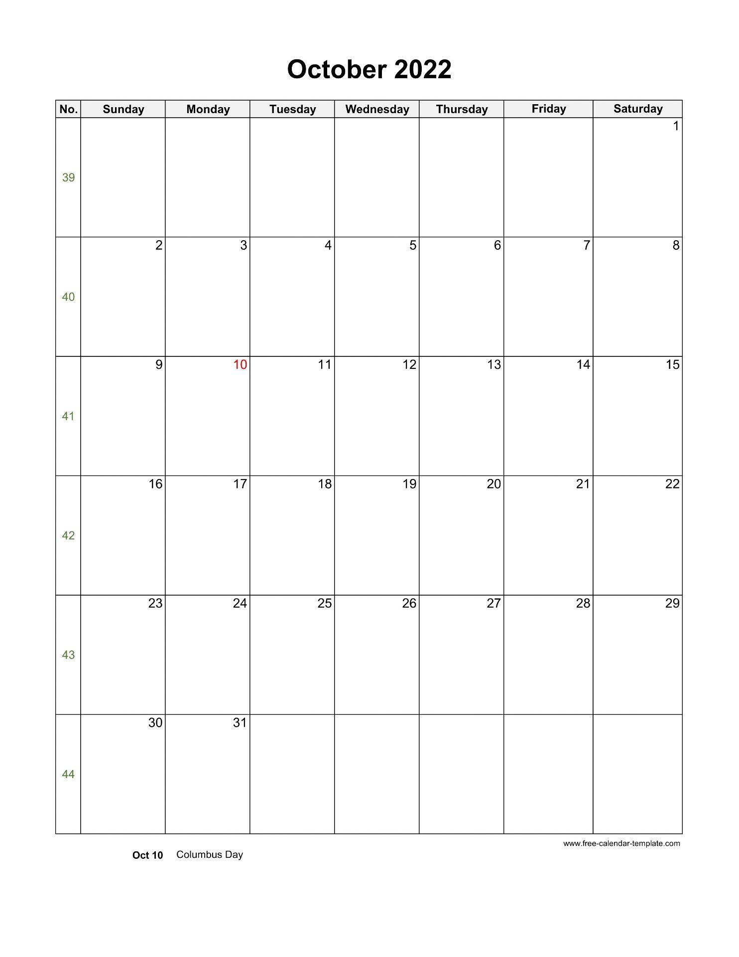 2022 October Calendar (Blank Vertical Template)   Free ...