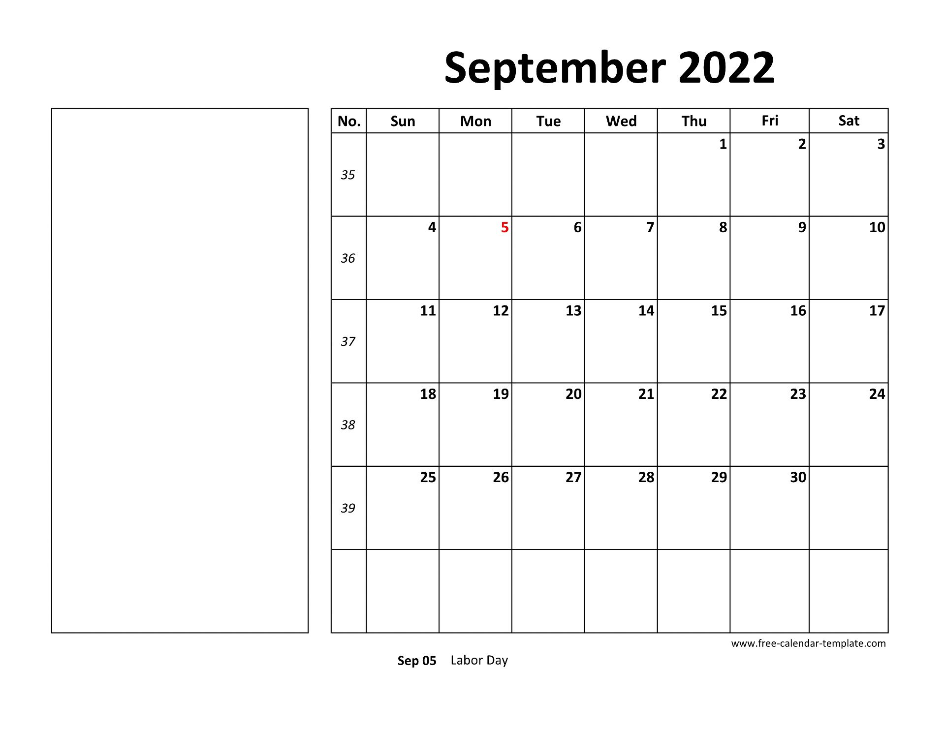 Printable September 2022 Calendar (box and lines for notes ...