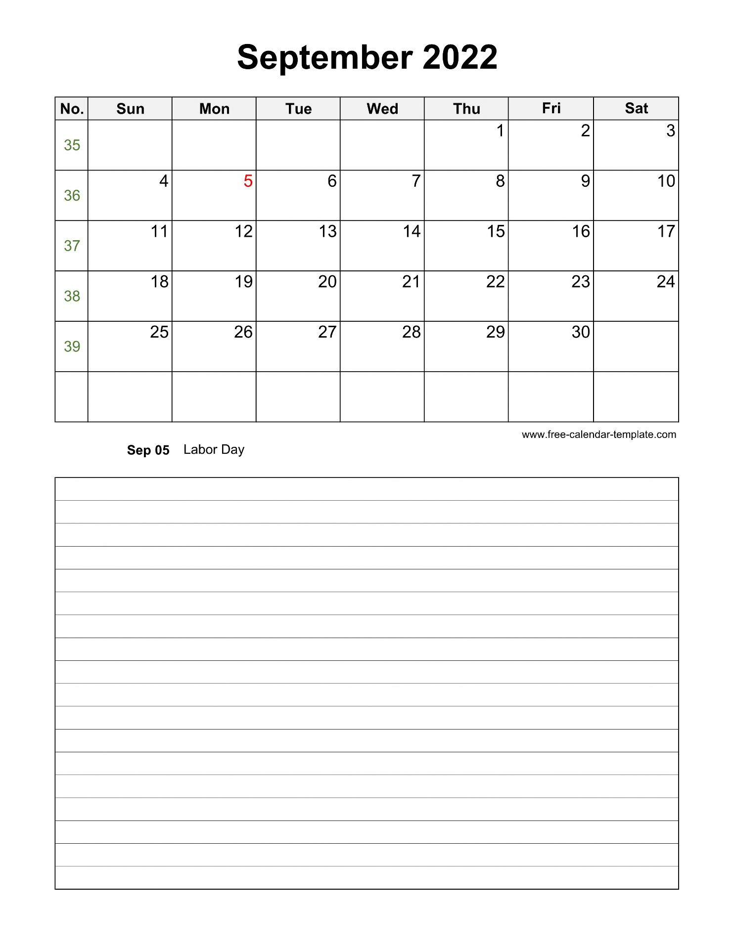 Printable September 2022 Calendar with space for ...