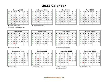Printable Yearly Calendar 2022   Free-calendar-template.com