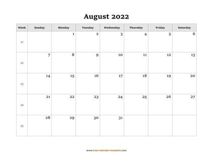 Simple August Calendar 2022 large box on each day for ...