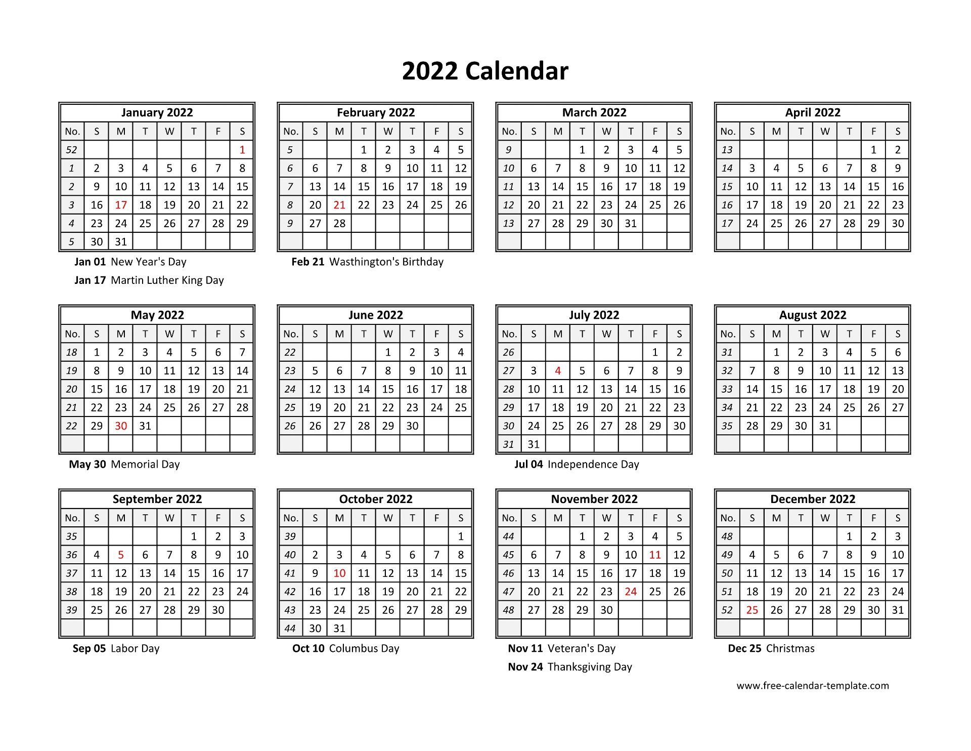 Yearly calendar 2022 printable with federal holidays ...