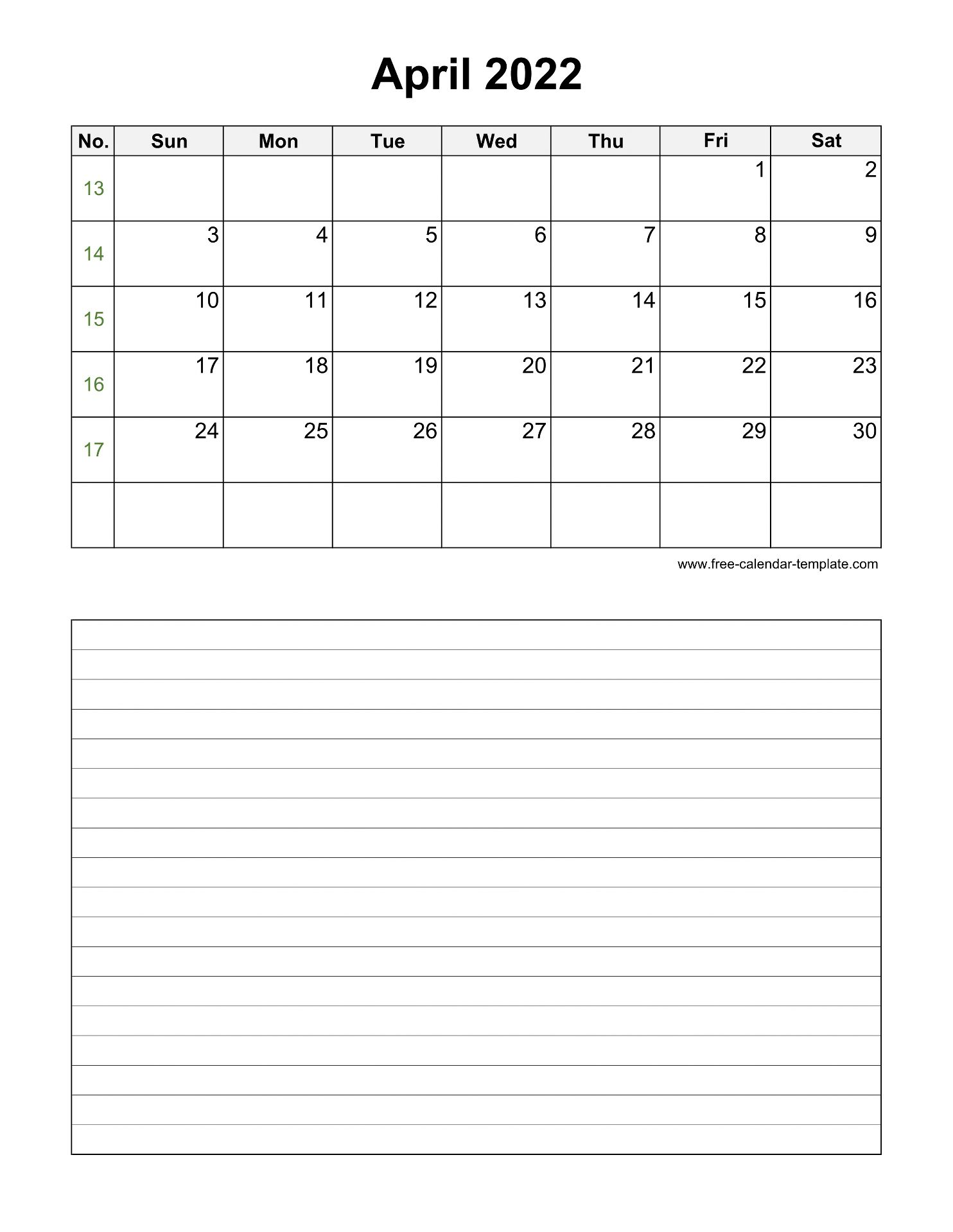 Printable April 2022 Calendar with space for appointments ...