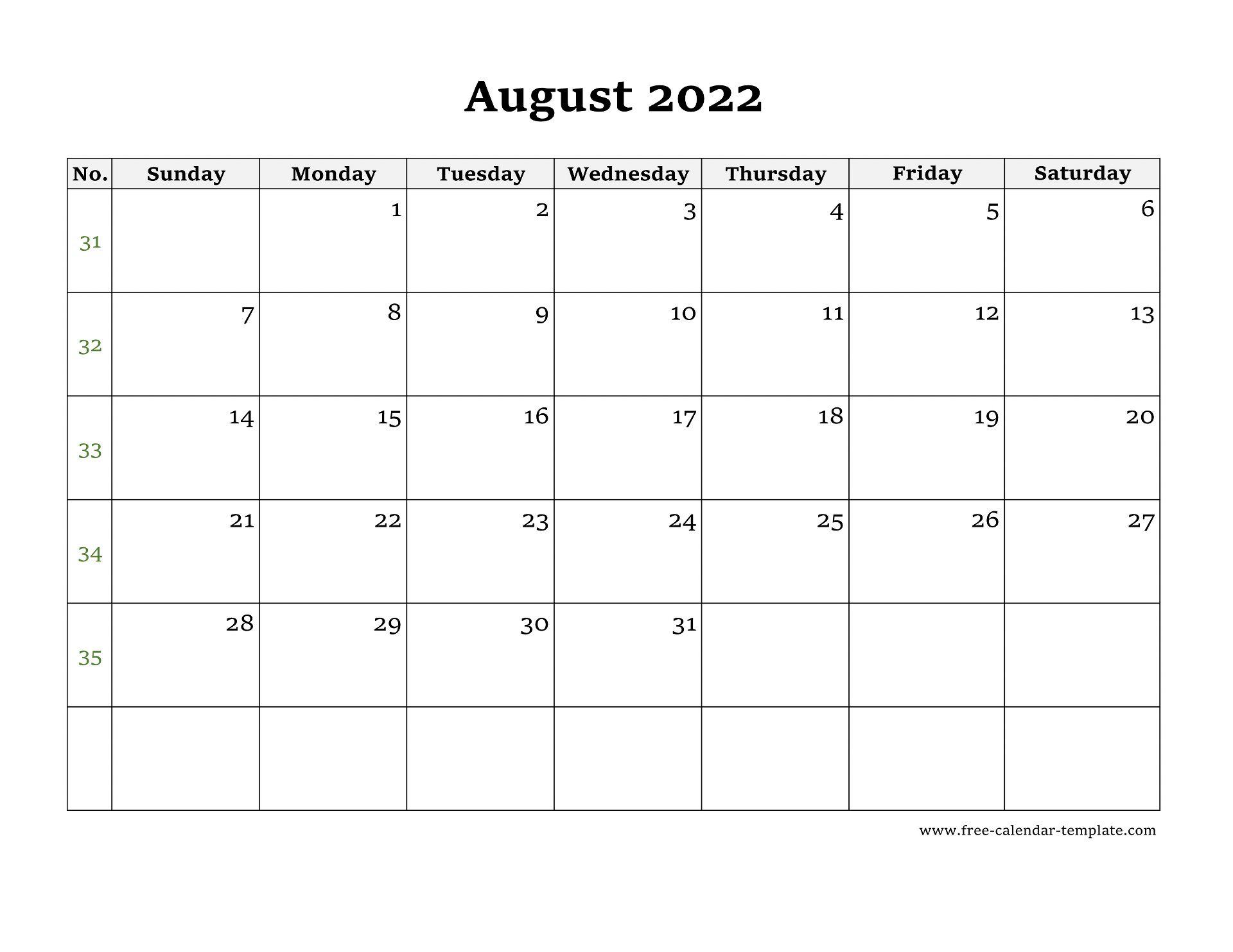 August 2022 Free Calendar Tempplate | Free-calendar ...