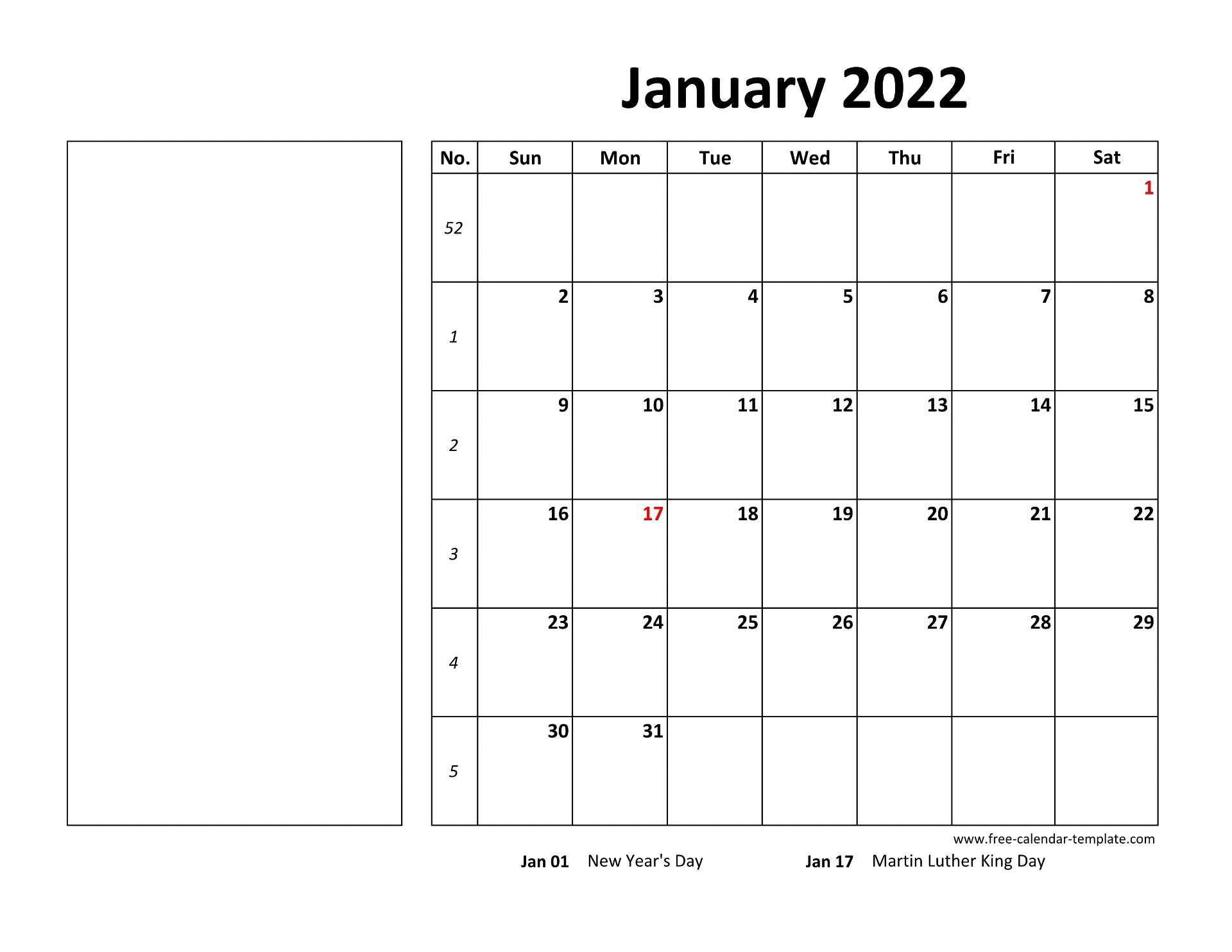 January 2022 Free Calendar Tempplate | Free-calendar ...