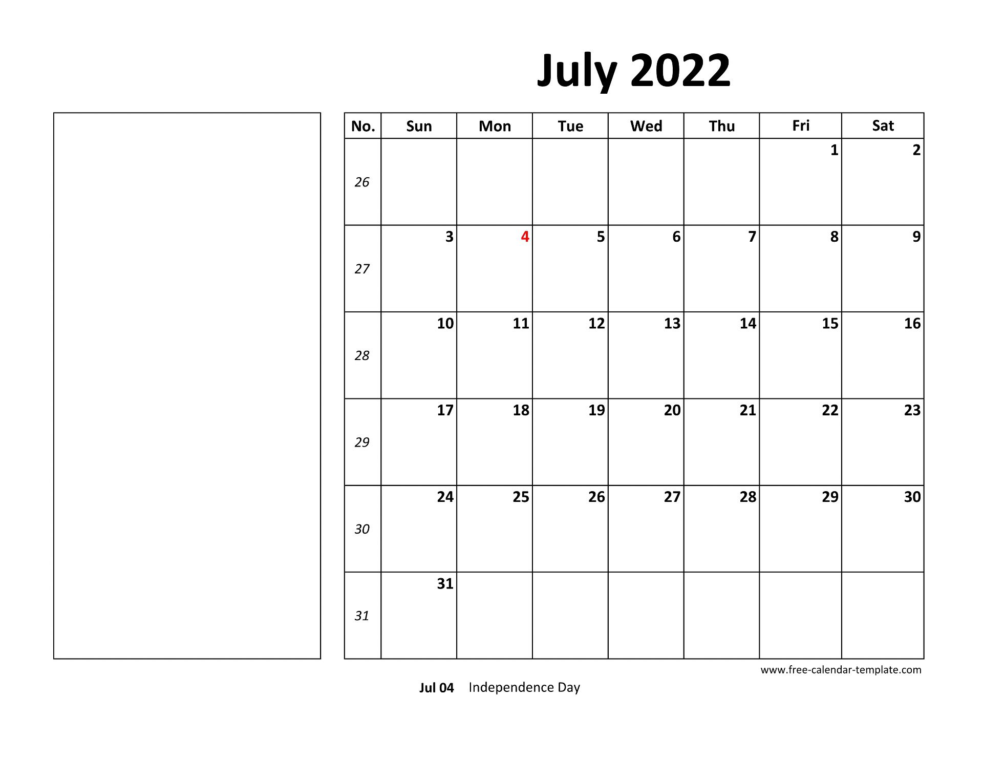 July 2022 Free Calendar Tempplate | Free-calendar-template.com
