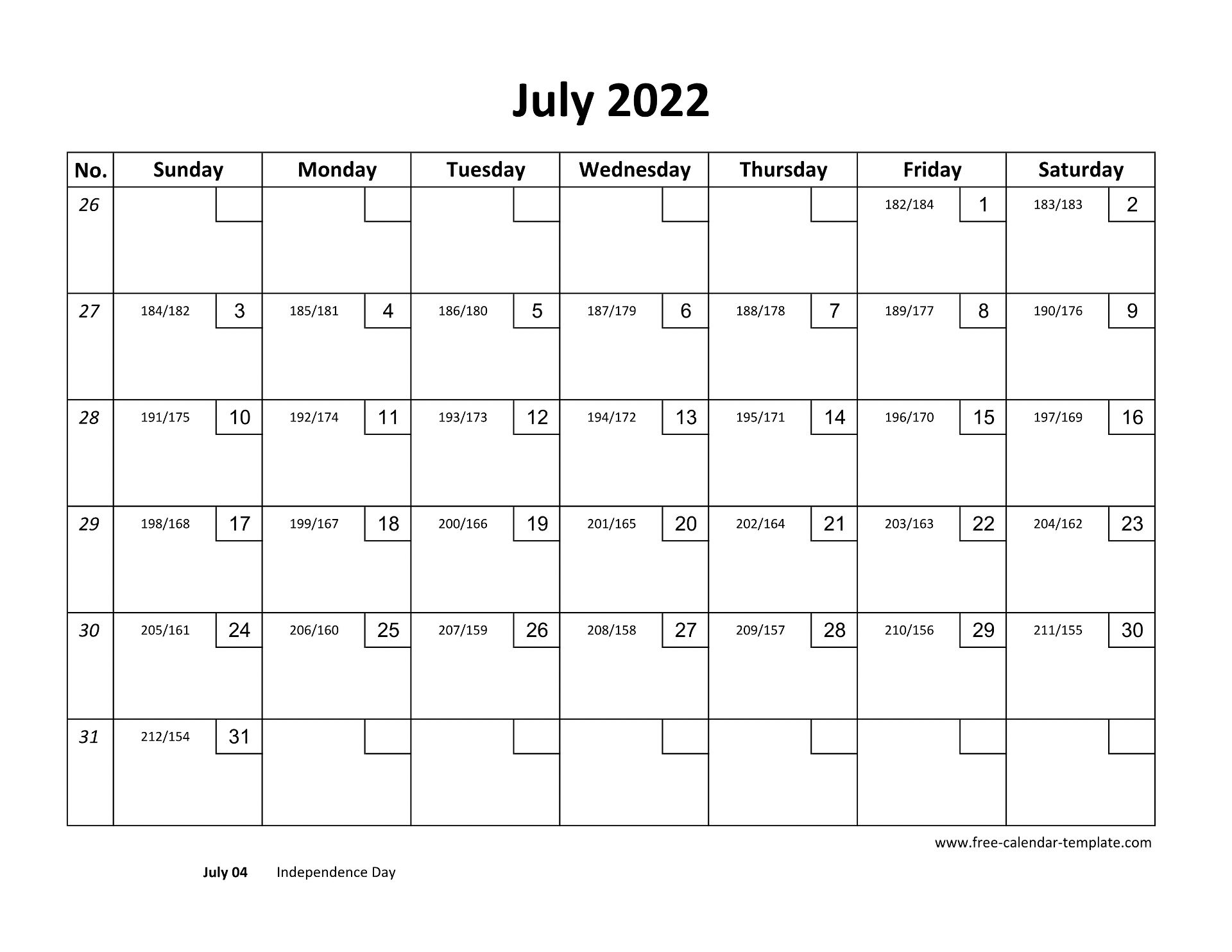 Download a free, printable calendar for 2021 to keep you organized in style. July 2022 Free Calendar Tempplate | Free-calendar-template.com