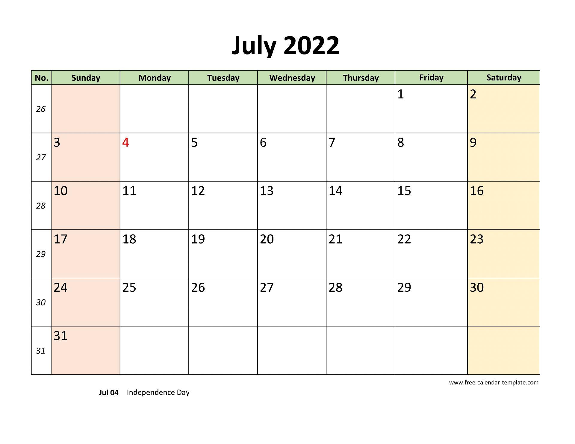 July 2022 Free Calendar Tempplate   Free-calendar-template.com
