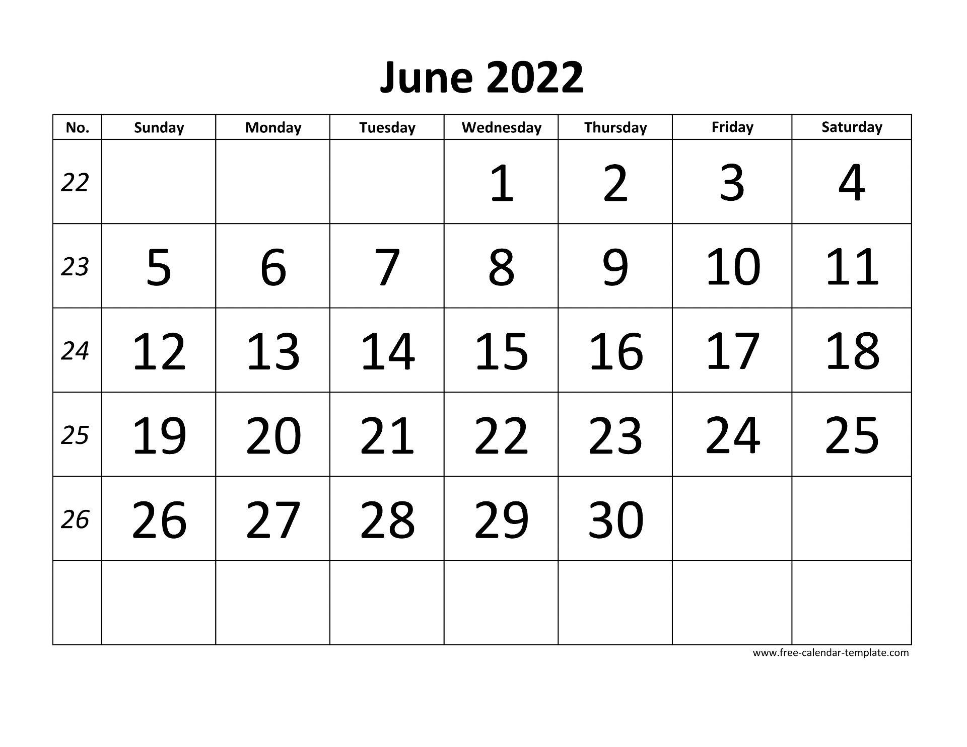 June 2022 Free Calendar Tempplate | Free-calendar-template.com