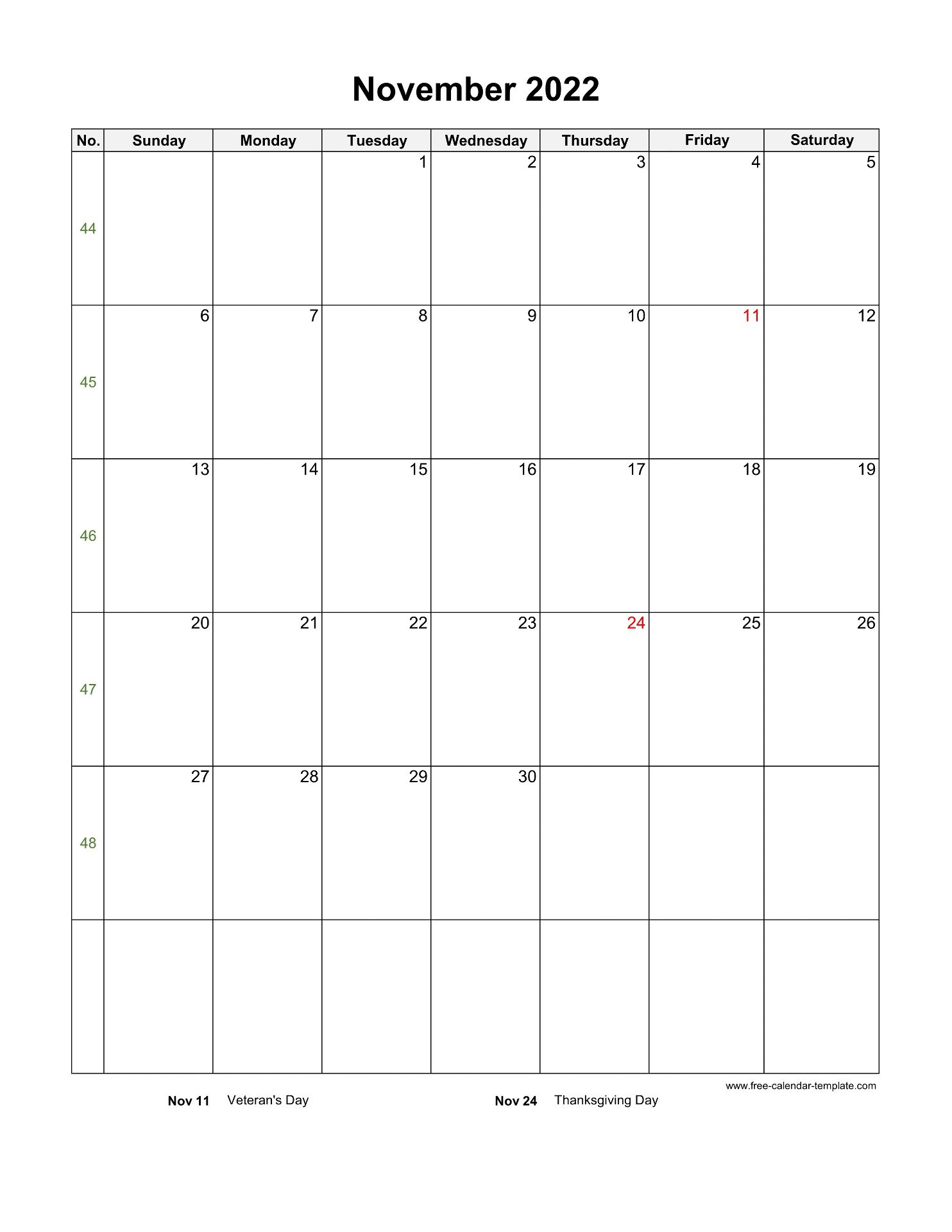 November 2022 Free Calendar Tempplate   Free-calendar ...