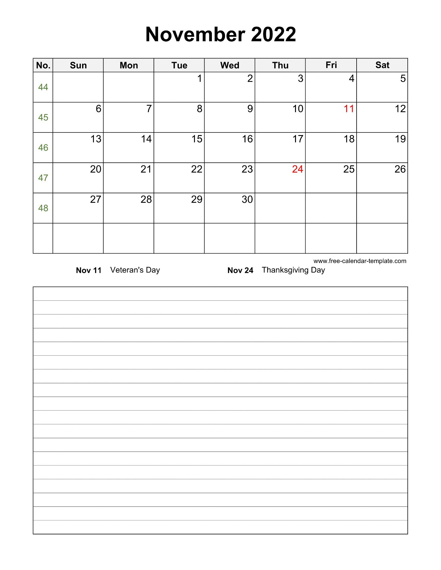 Printable November 2022 Calendar with space for ...