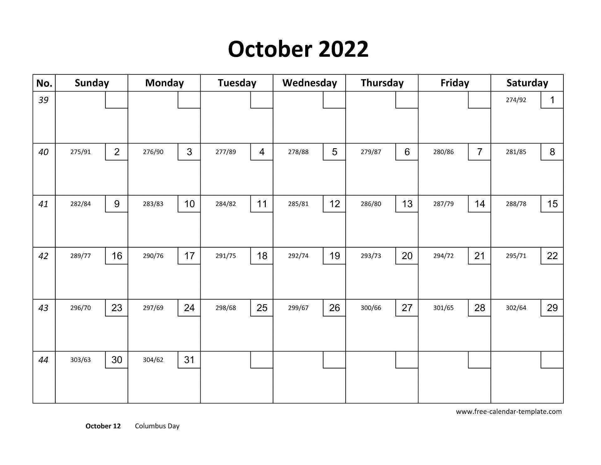 October 2022 Free Calendar Tempplate   Free-calendar ...