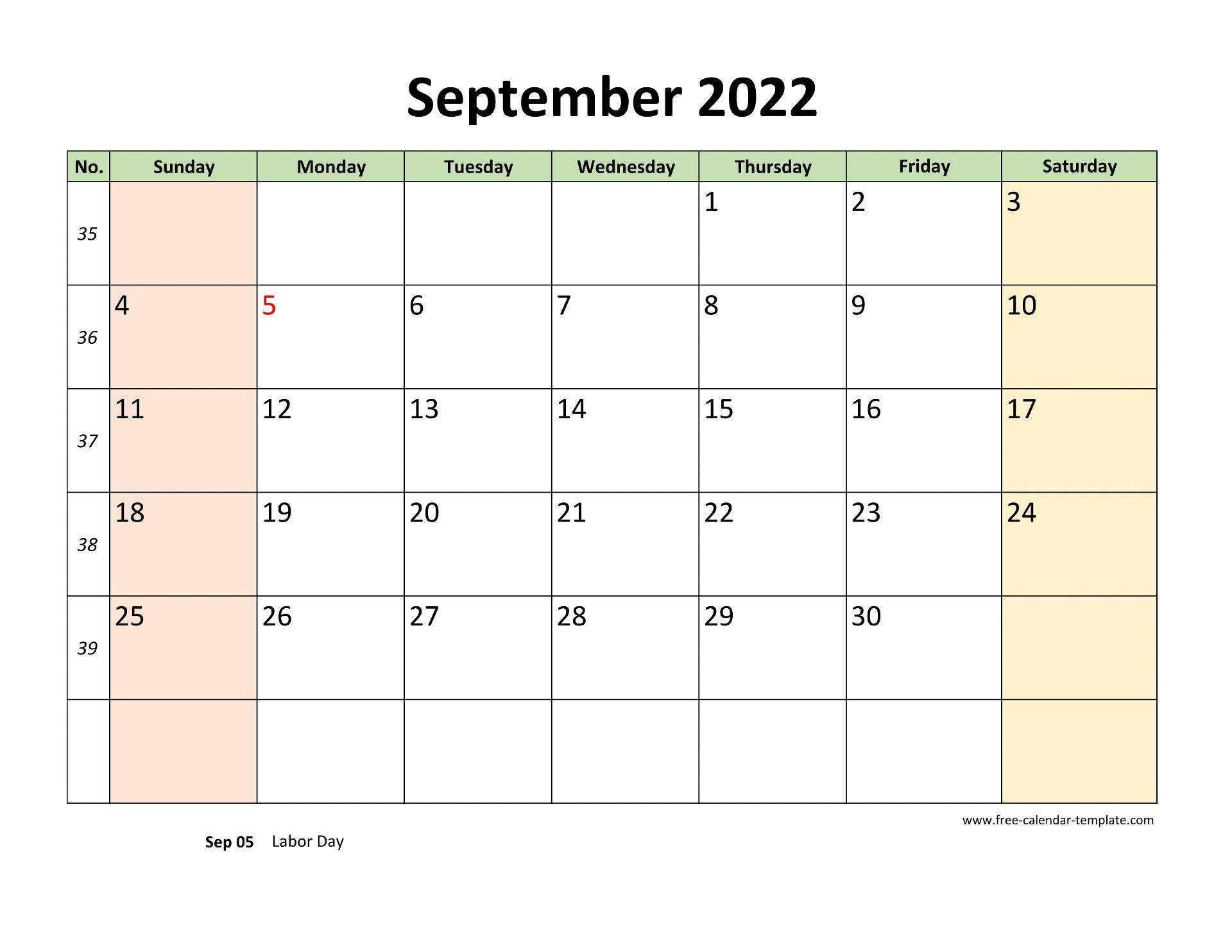 September 2022 Free Calendar Tempplate | Free-calendar ...