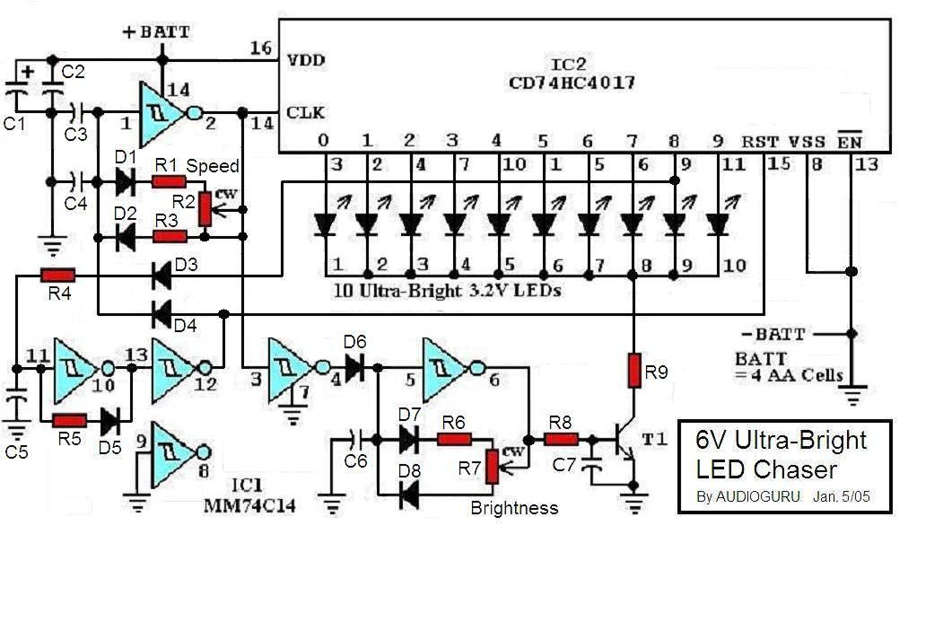 Light Wiring Diagrams Multiple Lights 6v Ultra Bright Led Chaser Circuit
