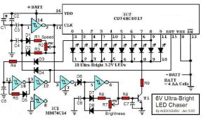 6V UltraBright LED Chaser Circuit