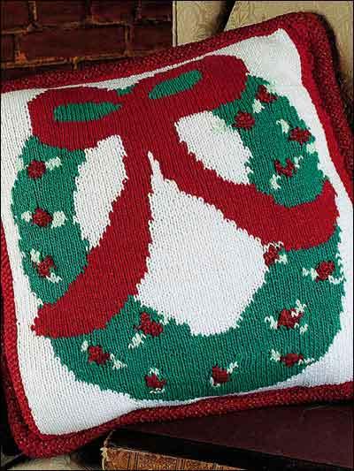 Free Christmas Knitting Patterns  Christmas Wreath Pillow