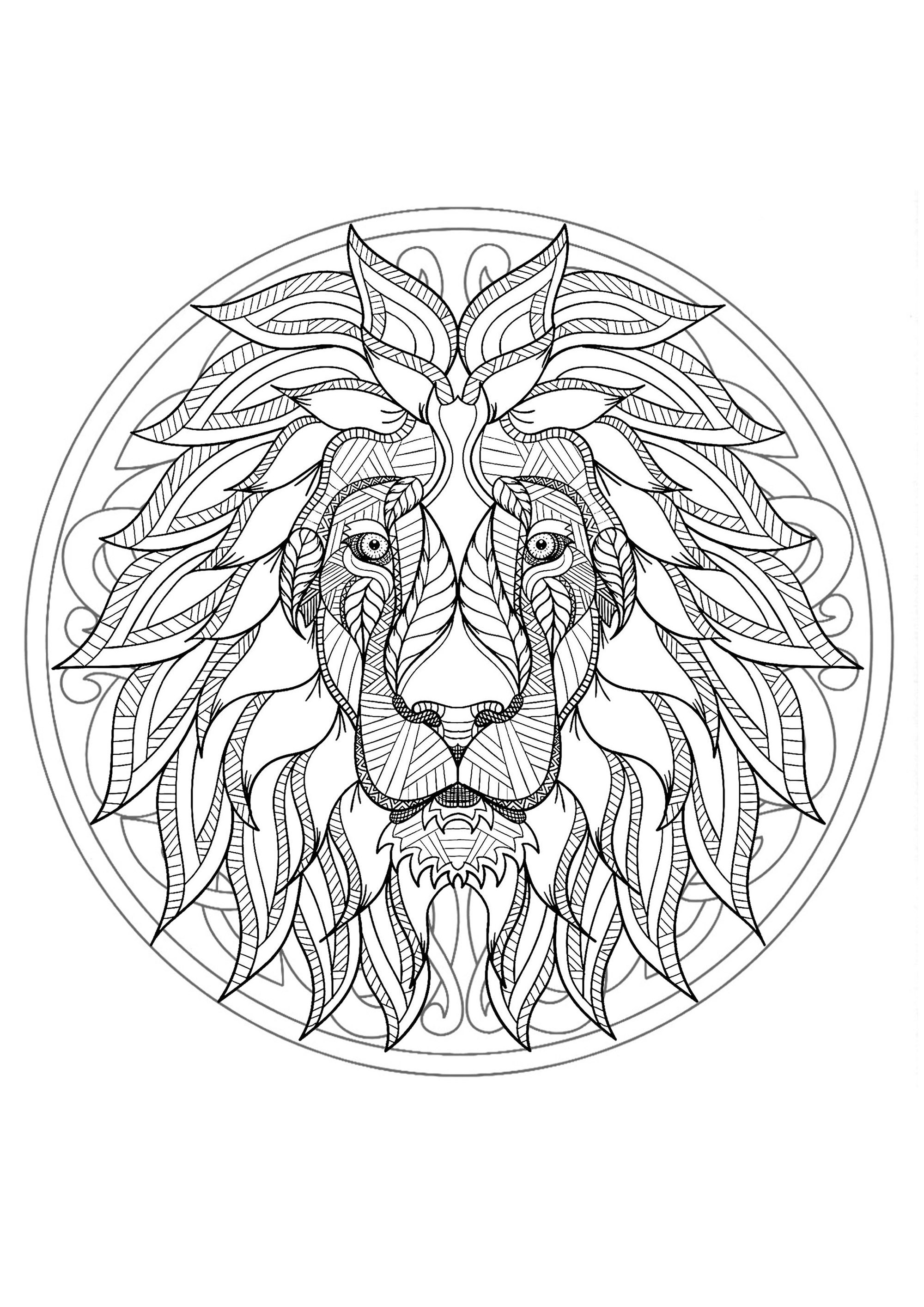 Complex Mandala Coloring Page With Majestic Lion Head 1