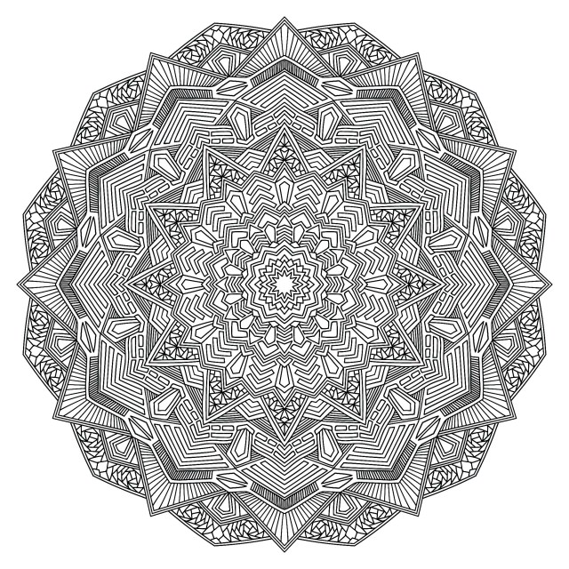 Mandala coloring page with multiple angles - Very difficult