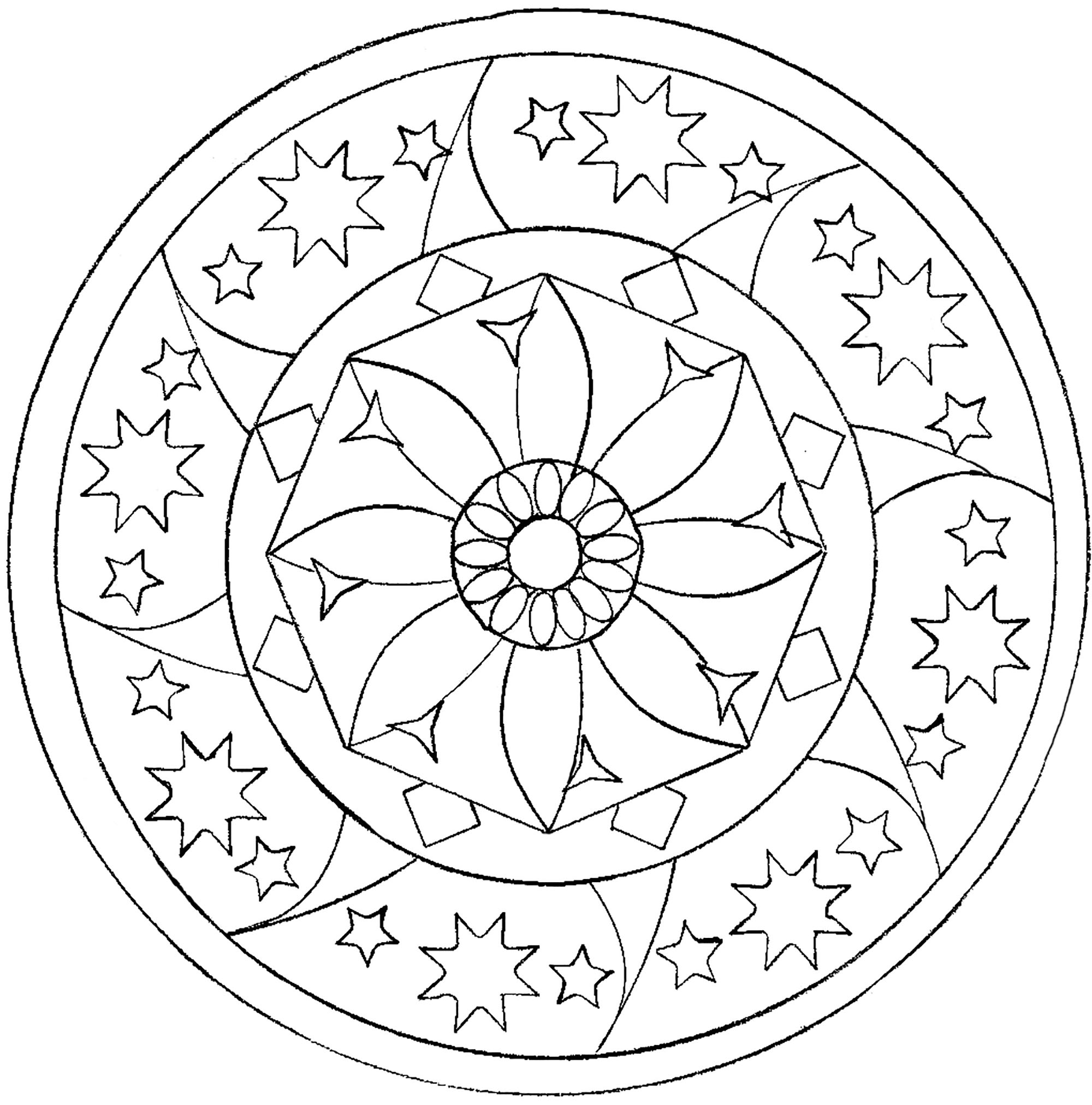 Zen Mandala With Stars And Flower In The Middle