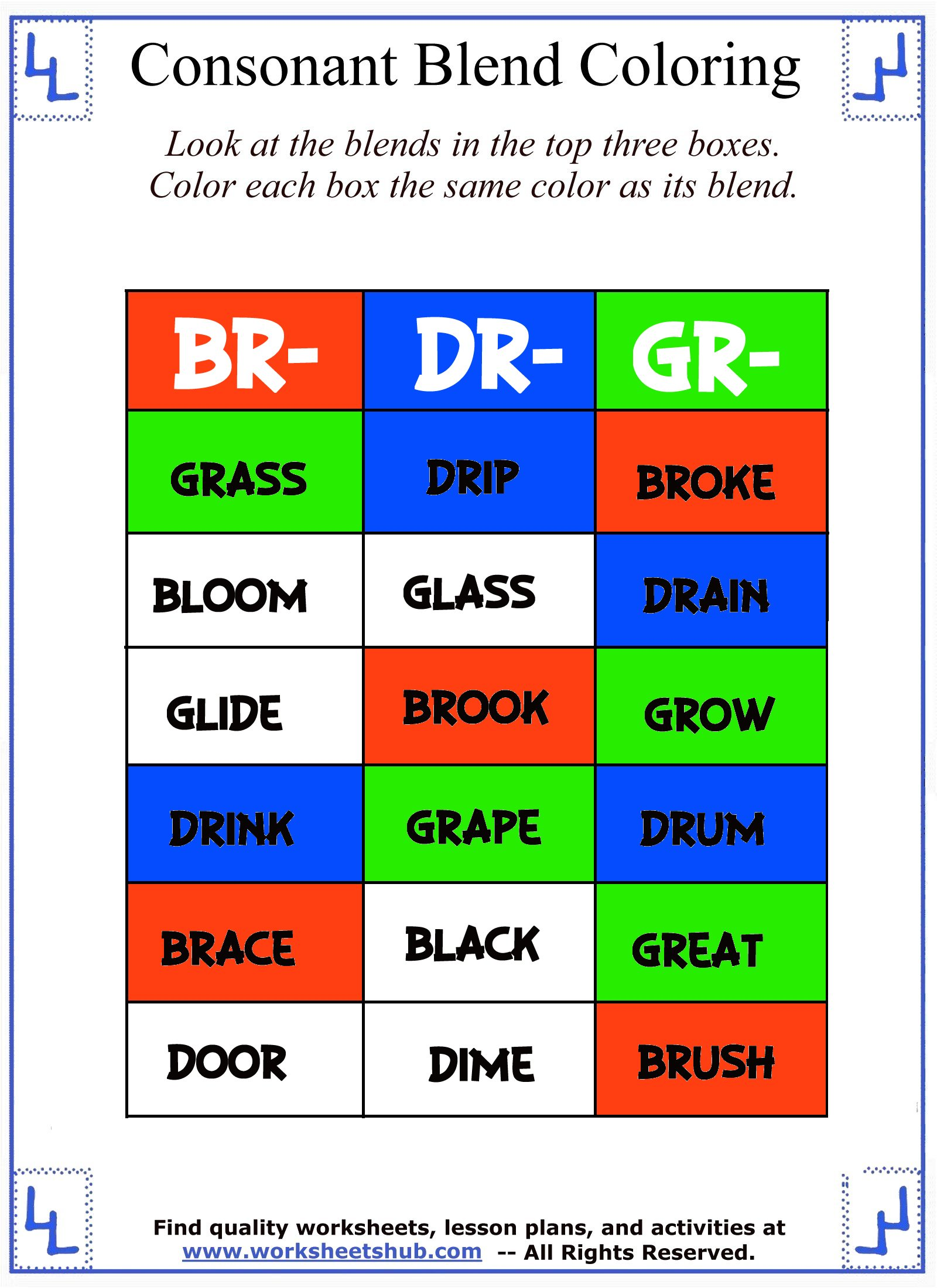 hight resolution of Consonant Blend Worksheets - Identify \u0026 Color