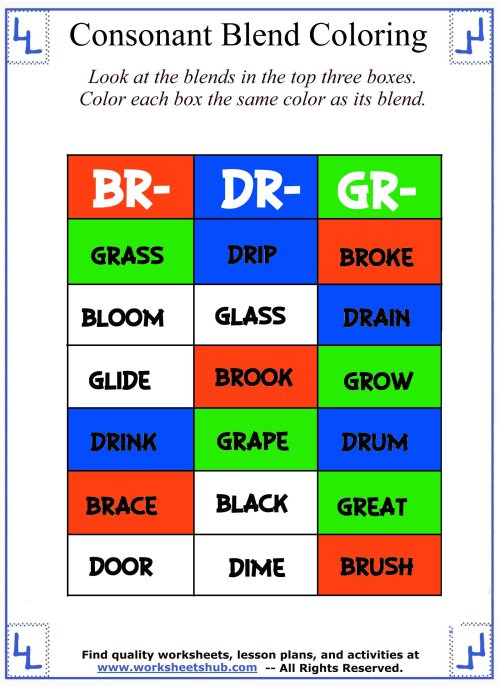 small resolution of Consonant Blend Worksheets - Identify \u0026 Color