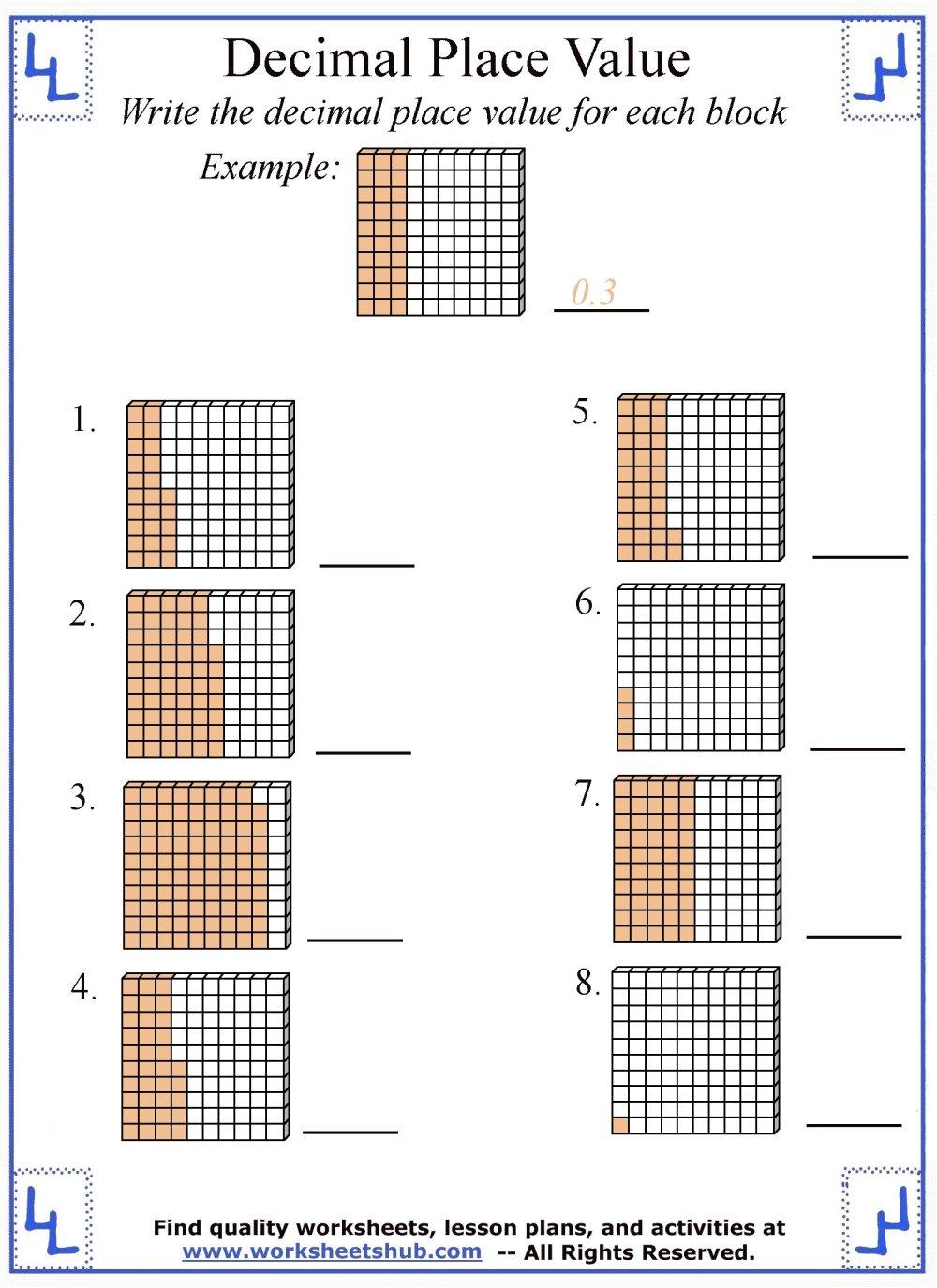 medium resolution of Decimal Place Value Worksheets