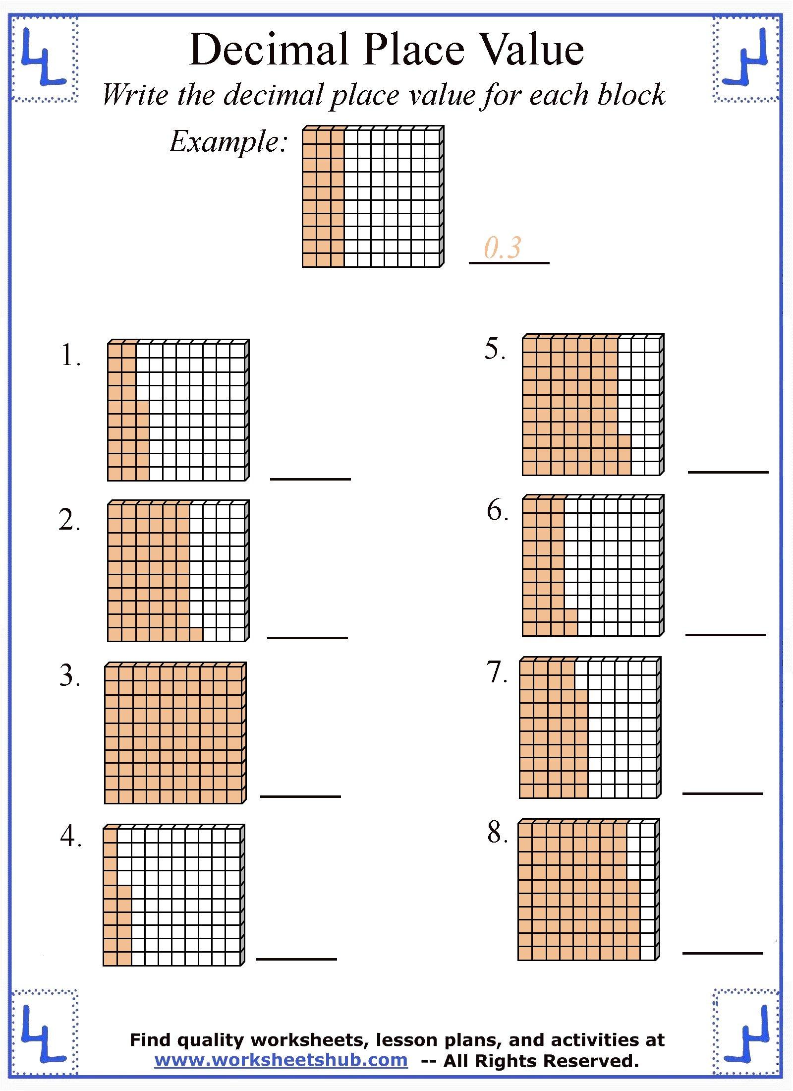 hight resolution of Decimal Place Value Worksheets