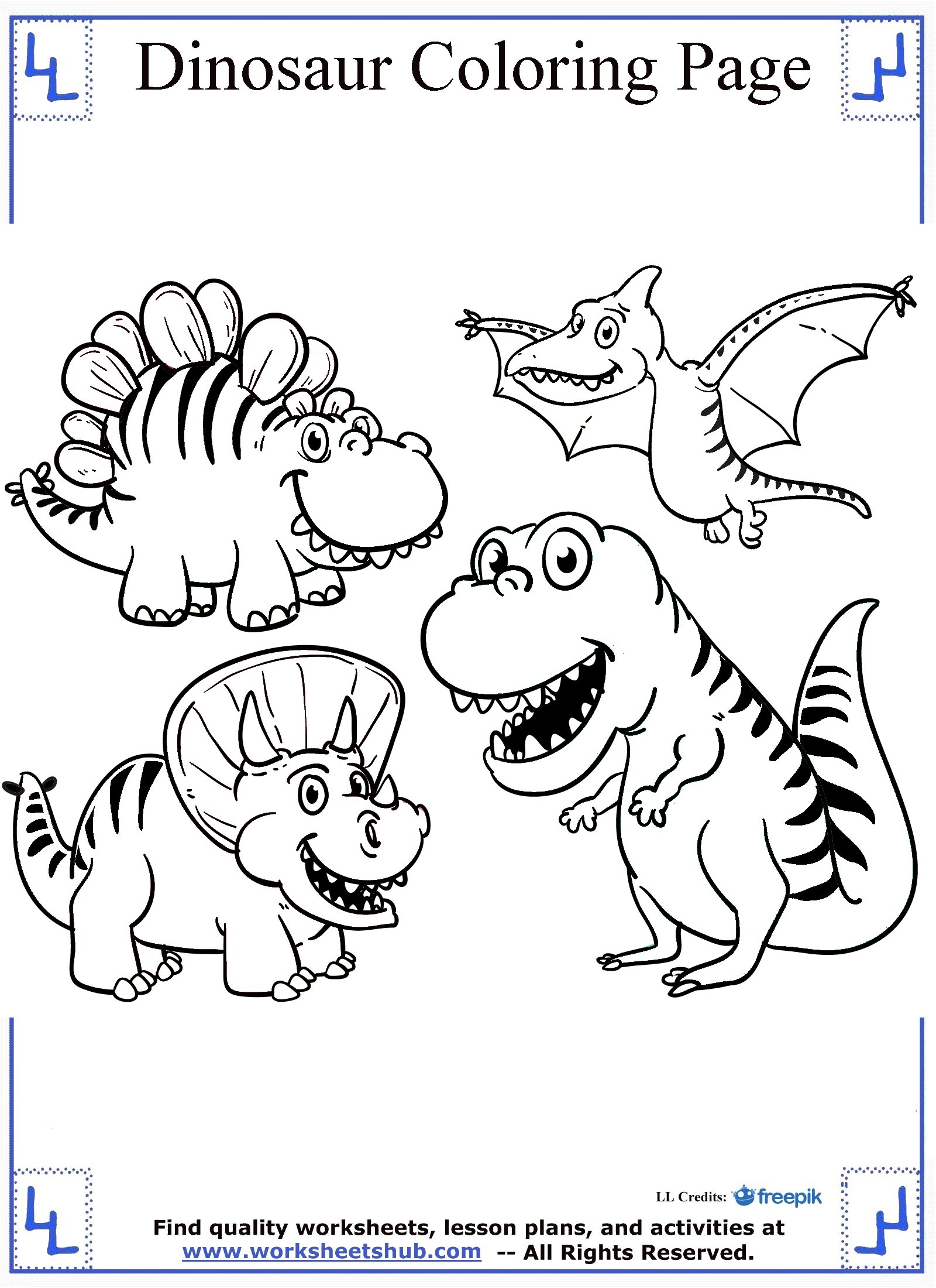 hight resolution of Dinosaur Coloring Pages
