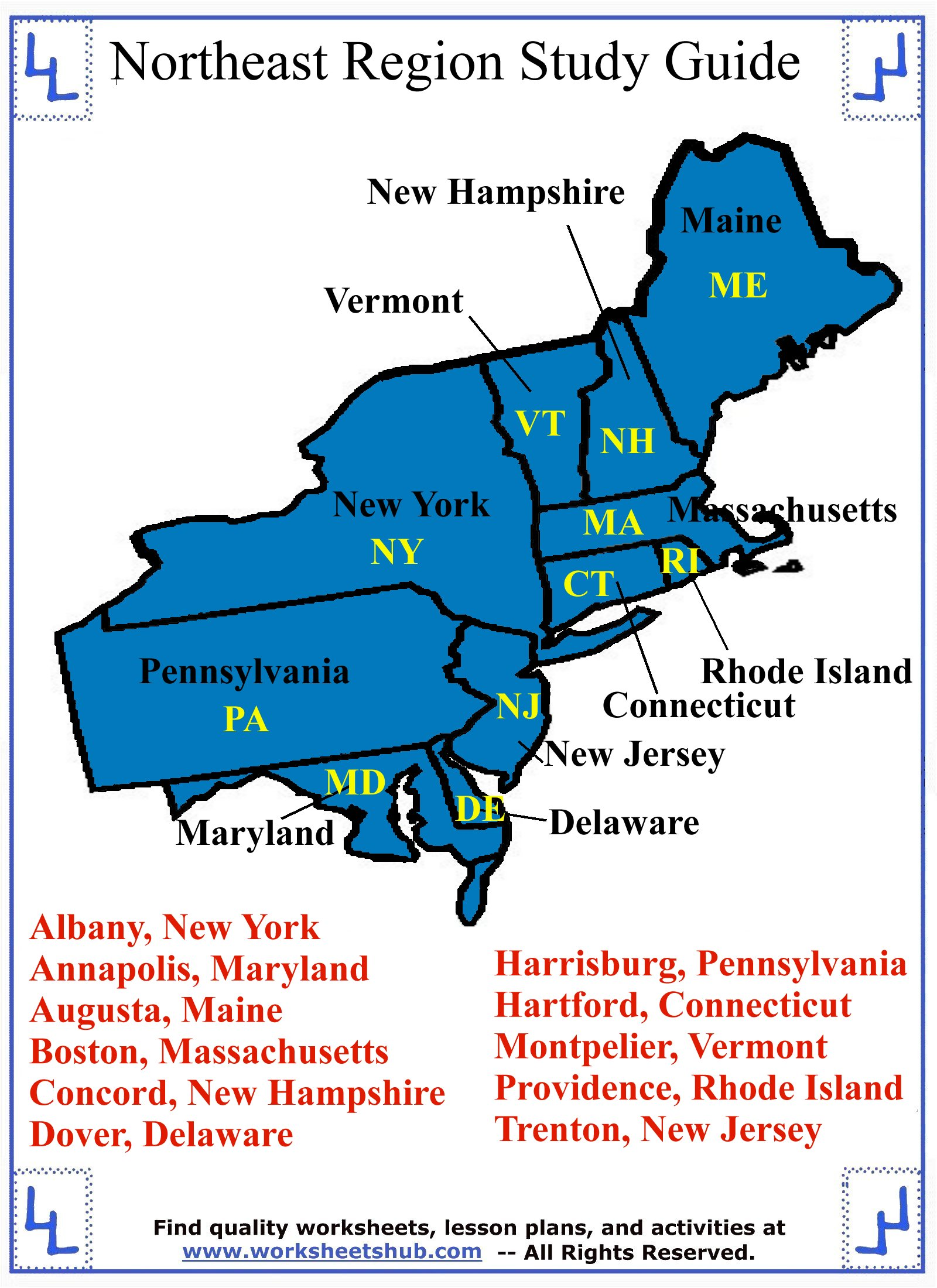 hight resolution of Fourth Grade Social Studies - Northeast Region States and Capitals