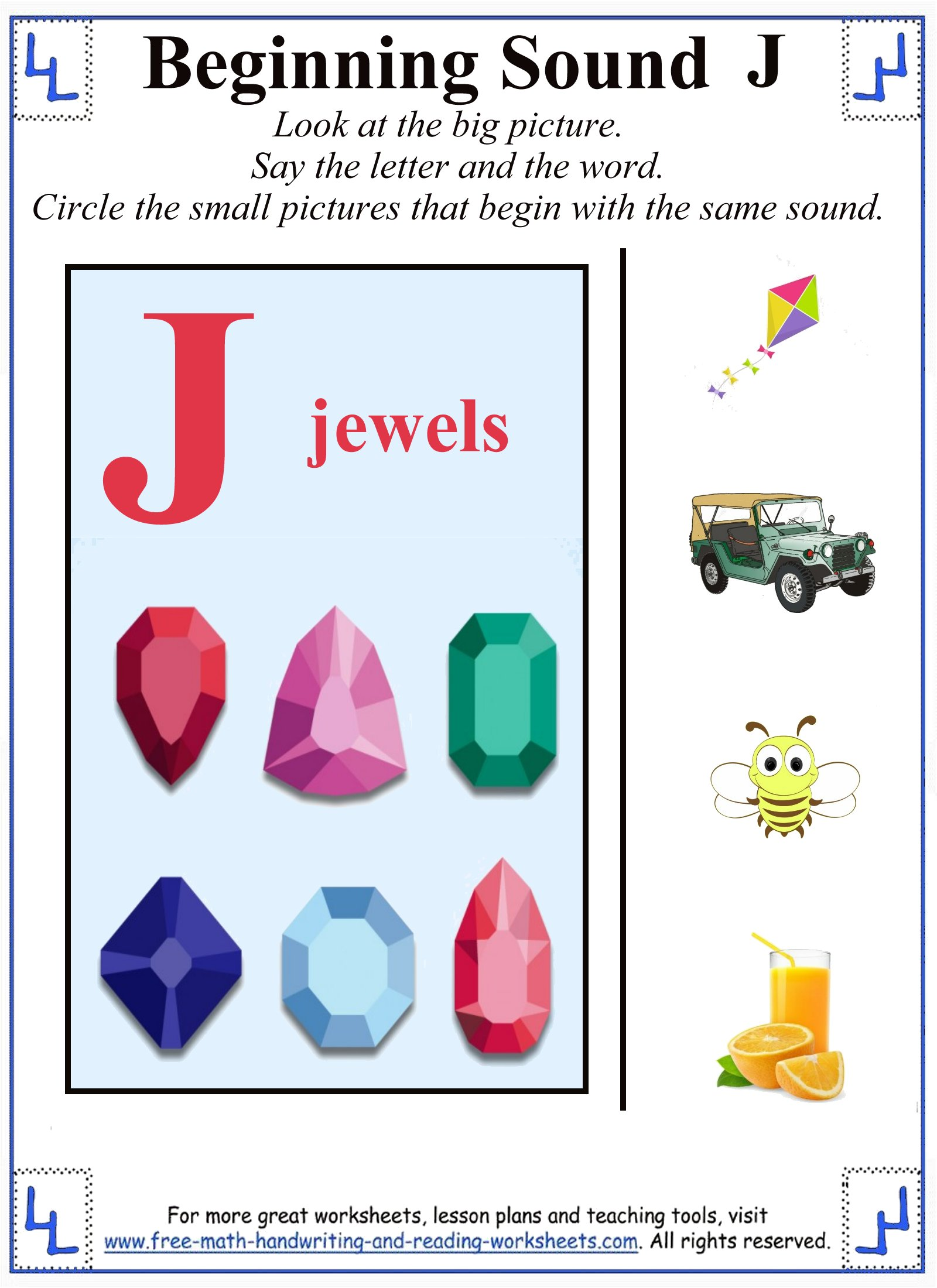 J Letter Worksheets