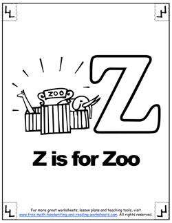 Letter Z Worksheets:Alphabet Lessons