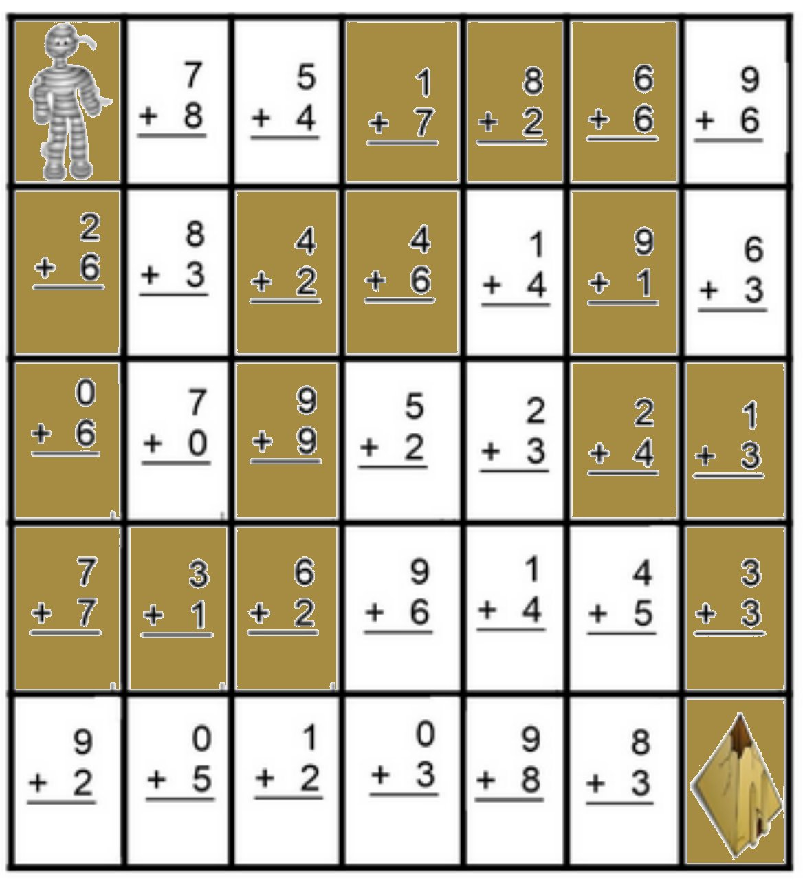 Math Maze Addition Worksheets