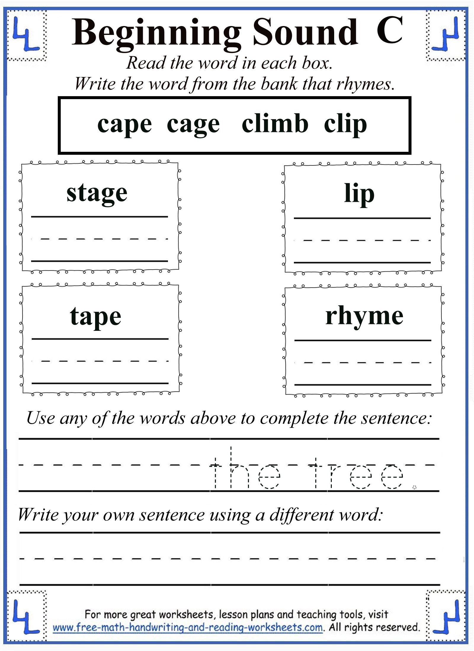 The Letter C Worksheets
