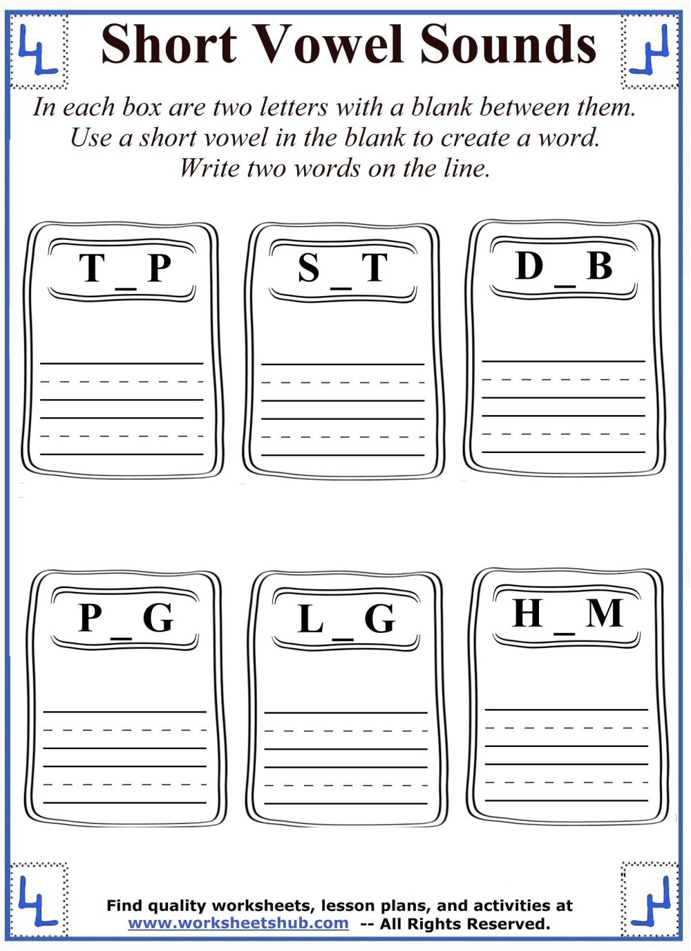 medium resolution of Short Vowel Sounds - Mixed Vowel Worksheets