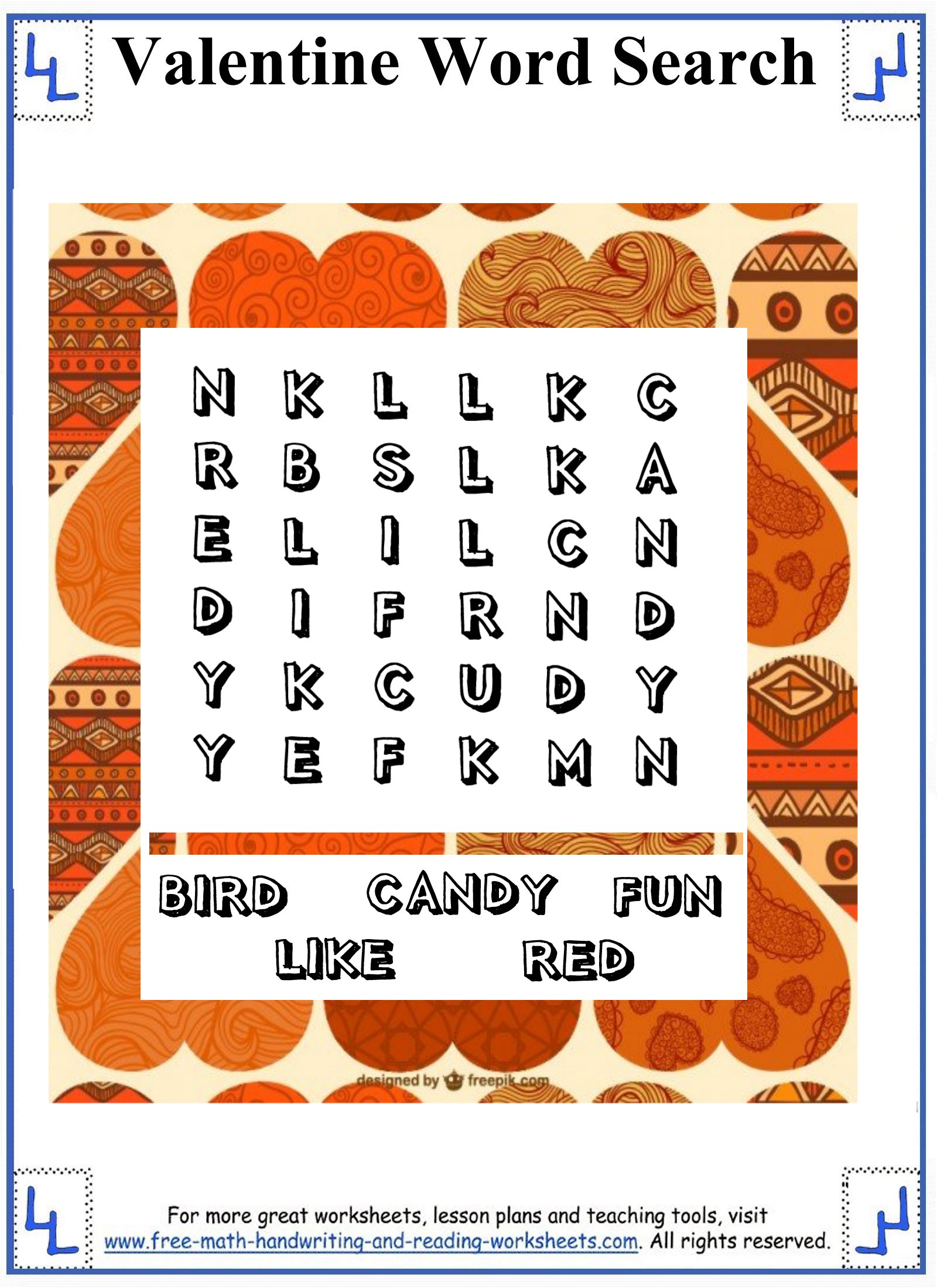 hight resolution of Valentine Word Search - Printable Puzzles