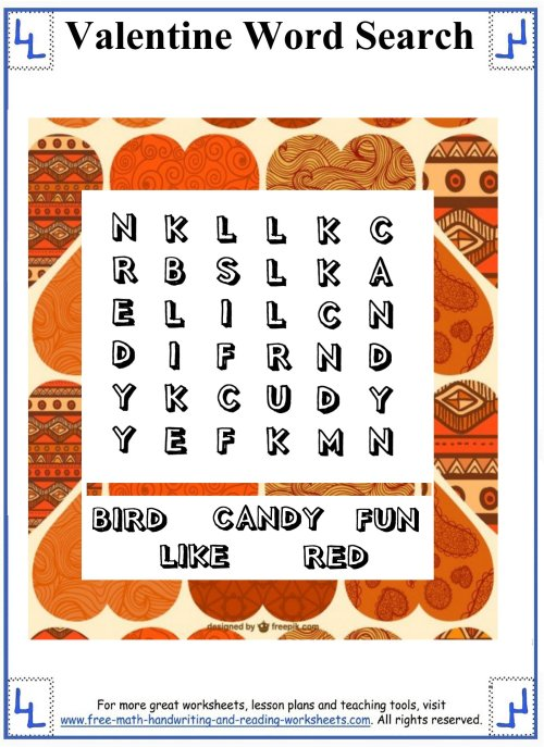 small resolution of Valentine Word Search - Printable Puzzles