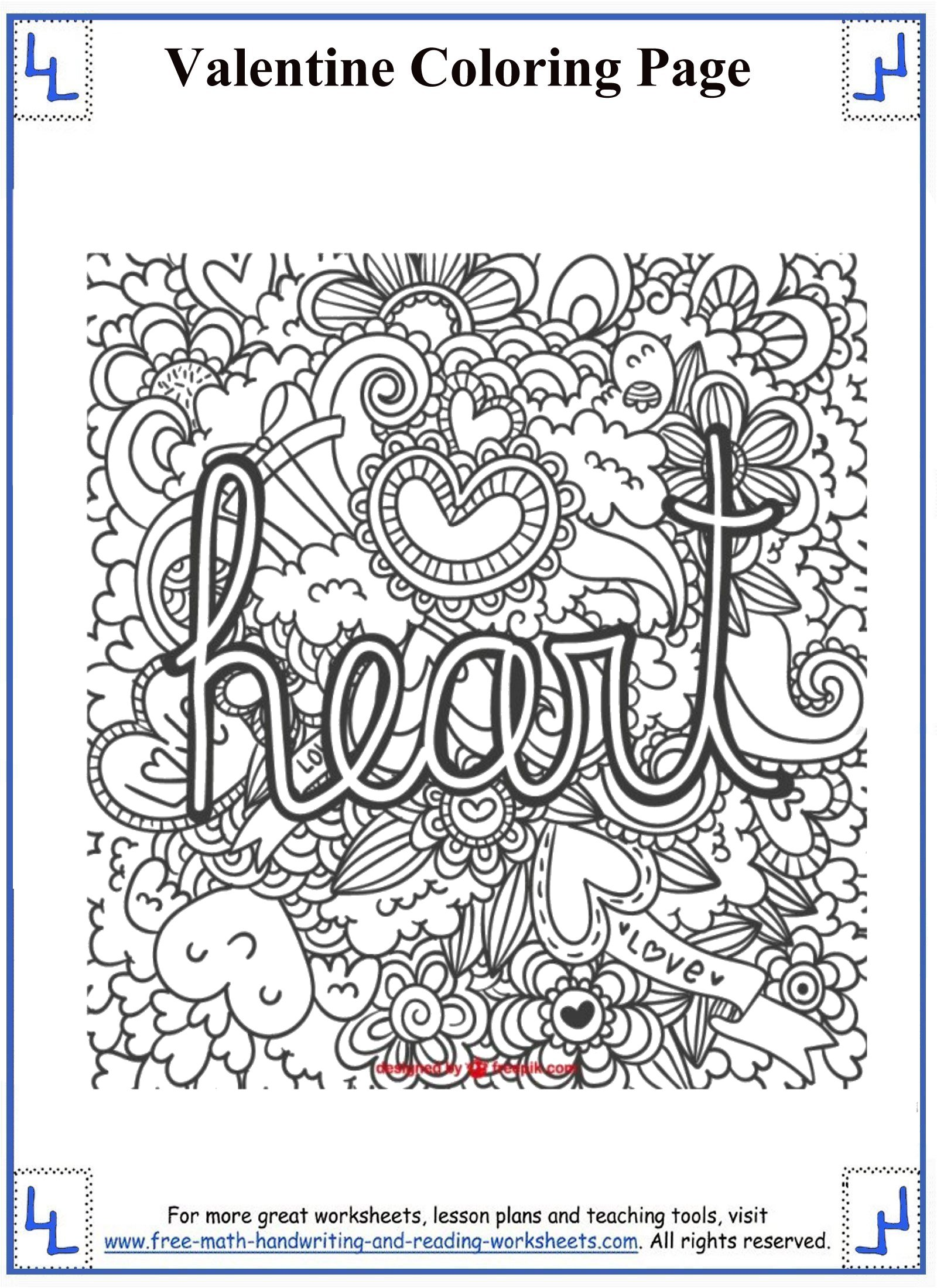 hight resolution of Valentines day coloring pages 5th grade