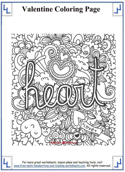small resolution of Valentines day coloring pages 5th grade
