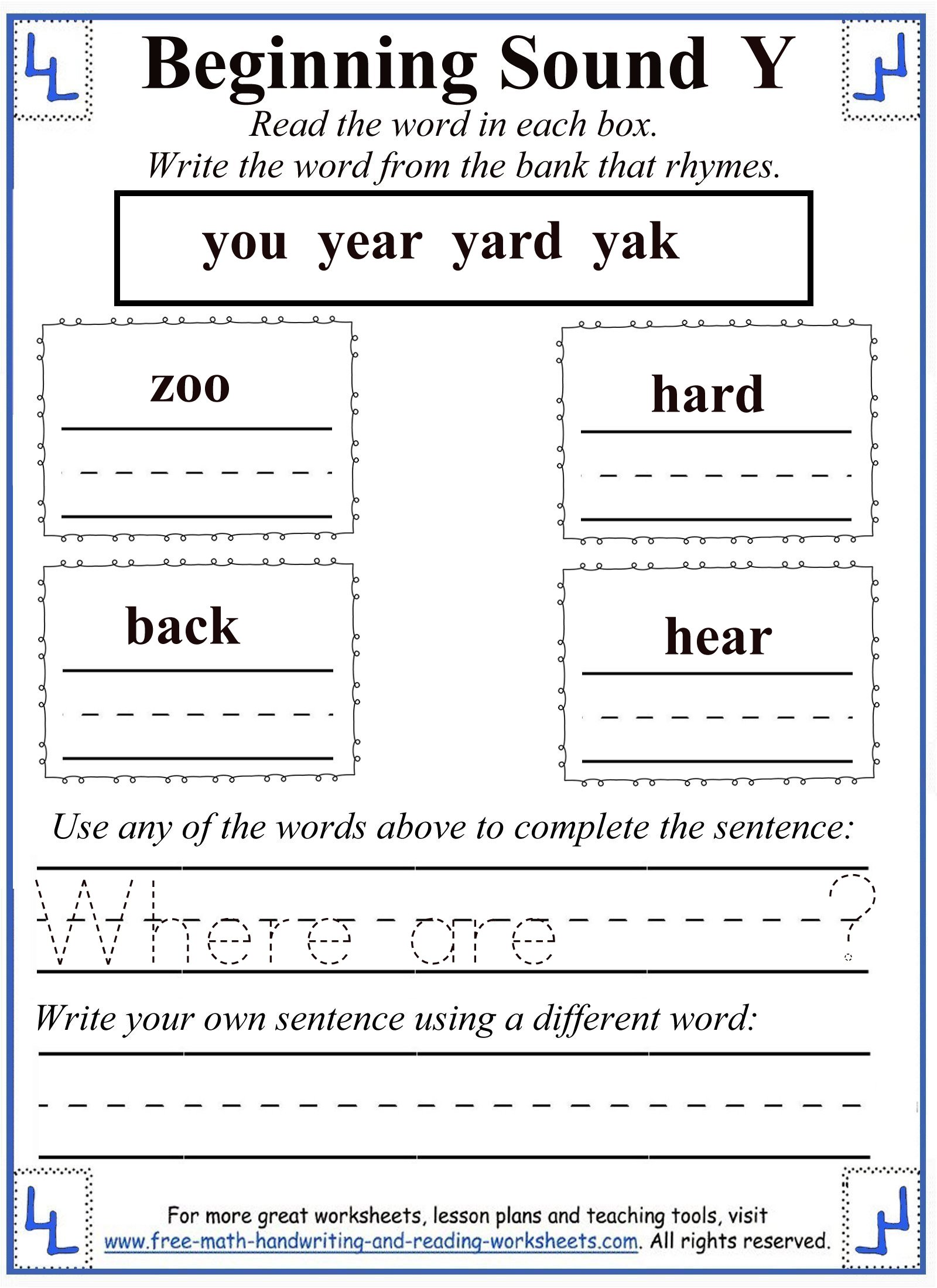 Letter Y Worksheet For Kindergarten