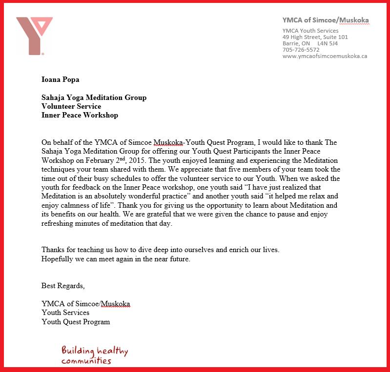 Community Feedback  Certificates  Sahaja Yoga Halton