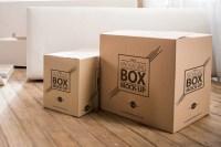 Packaging Box on Wooden Floor Free PSD Mockup   Free Mockup
