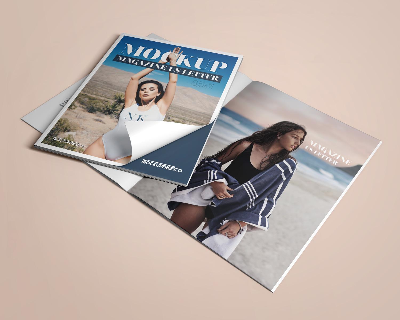 US Letter Magazine  3 Free PSD Mockups  Free Mockup
