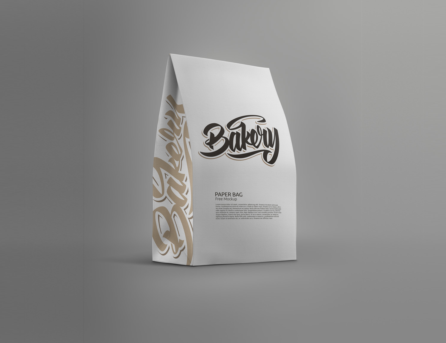 White paper shopping bag side view isolated on white background with clipping path. Standing Paper Bag Mockup Free Mockup