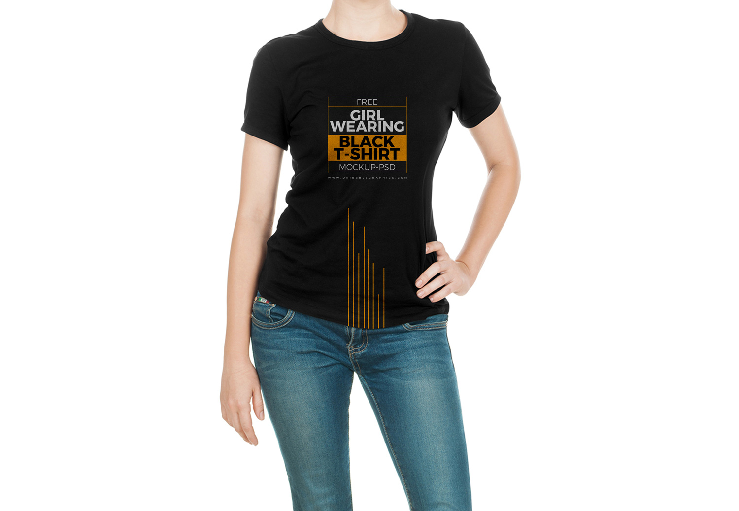 Just hide/show the color layer to pick your color shirt or you can add your own custom color. Girl Wearing Black T Shirt Mock Up Free Mockup