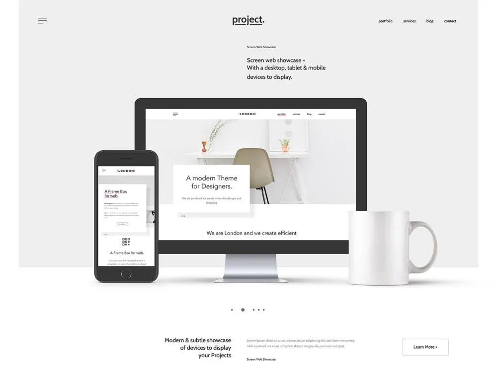 website design showcase mockup