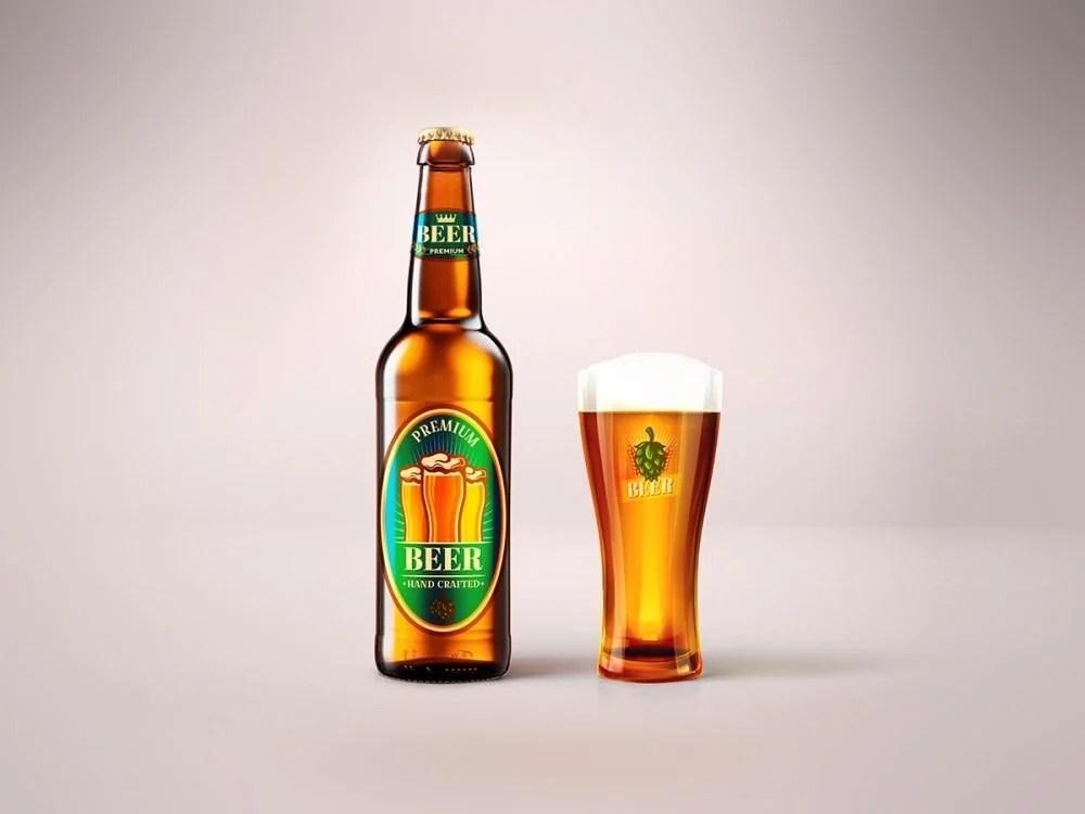 Design your beer logo with our free mockup. Blonde Beer Bottle Glass Mockup Free Mockup