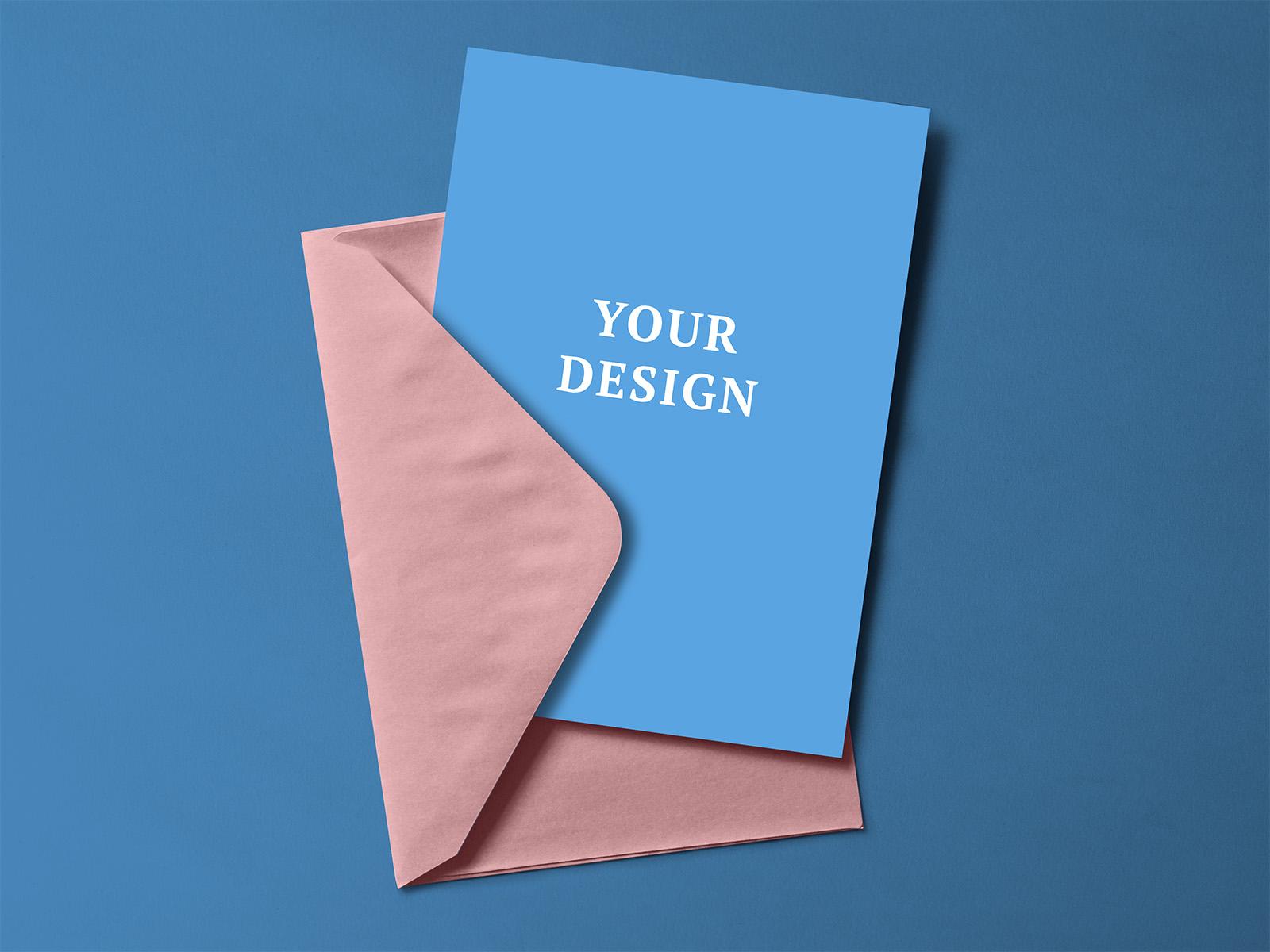 free greeting card with envelope mockup