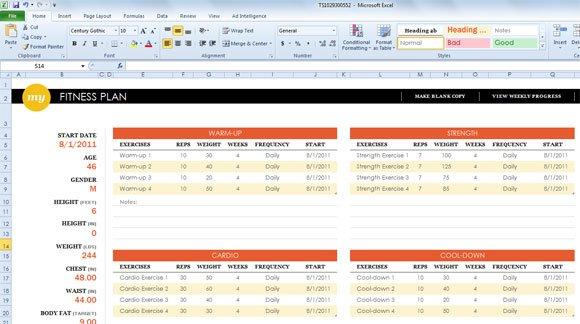 weight loss spreadsheet